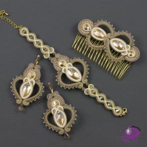 Royal - złota bransoletka, kolczyk i grzebień